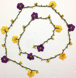 10.31.11 Yellow and Purple Crochet Lace Lariat Necklace