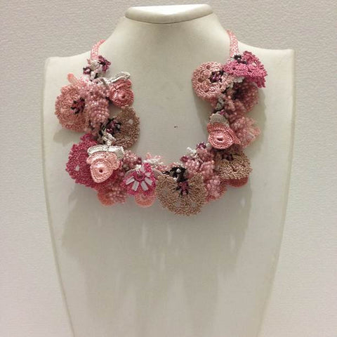 Pink Salmon Taupe Bouquet Necklace - Crochet OYA Lace Necklace