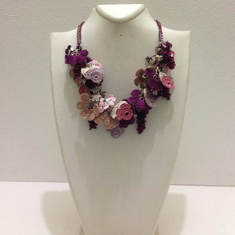 Lilac Burgundy Plum Purple and Taupe Bouquet Necklace - Crochet OYA Lace Necklace