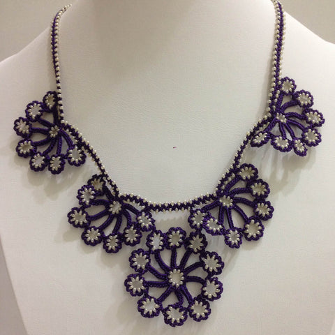 Purple with White Beads - Choker Necklace with Crocheted Bead Flower Oya