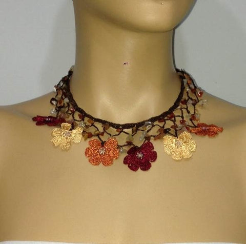 FALL Colors - Burnt Orange, Burgundy and Yellow Choker Necklace with Crocheted Flower and semi precious Agate Stones