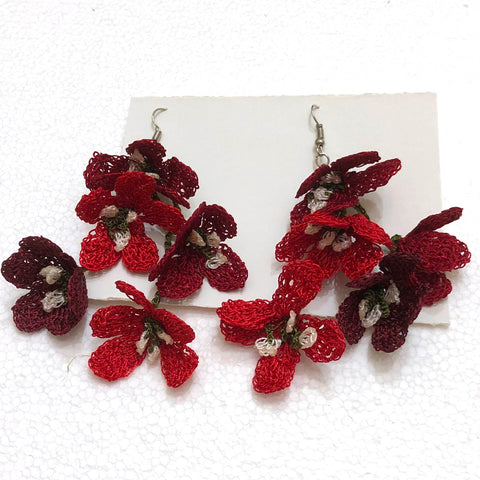 Red and Burgundy Poppy Earrings