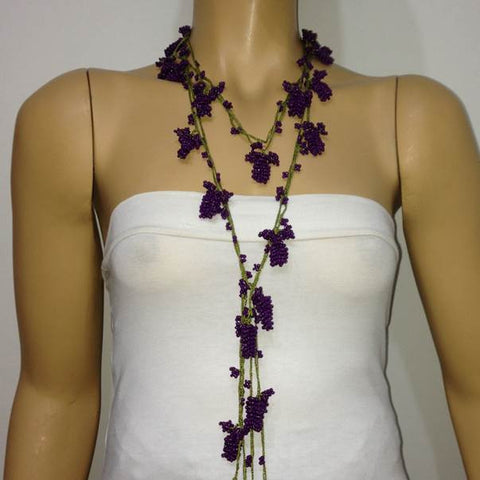 Solid PURPLE Crochet grapes bead oya Lariat Necklace