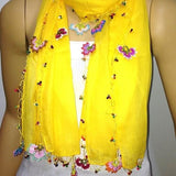 Crochet Beaded Scarf- Yellow Scarf with handmade multi color oya flowers - Beaded Scarf