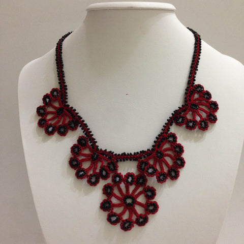 Burgundy Red with Black Beads - Choker Necklace with Crocheted Bead Flower Oya