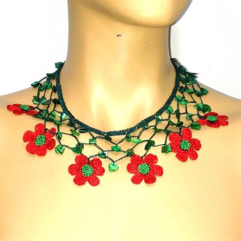 RED and GREEN Choker Necklace with Crocheted flower and semi precious Stones