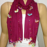 Crocheted Sour Cherry color scarf with handmade multi color oya flowers - Burgundy scarf - Beaded Scarf - Crochet Beaded Scarf