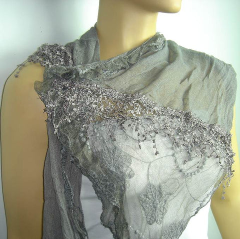 Dark Gray cotton scarf with lace - Grey Scarf