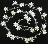 White beaded lariat - Double size - Crochet oya lace Necklace - All Snow White - Bridal