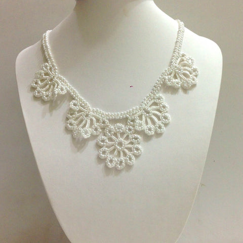 All White - Choker Necklace with Crocheted Bead Flower Oya