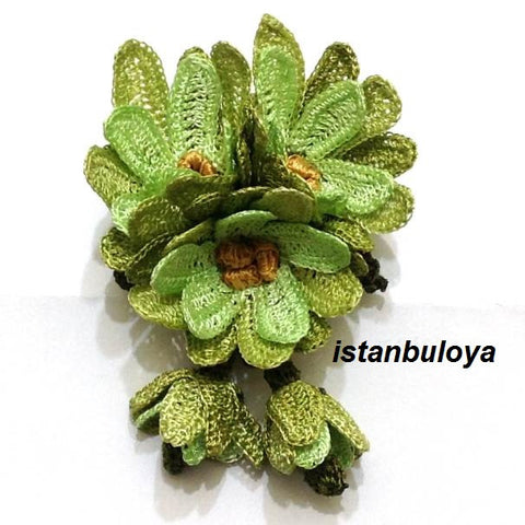 GREEN Hand Crocheted Brooch - Flower Pin- Unique Turkish Lace - Brooches Jewelry - Fabric Flower Brooch
