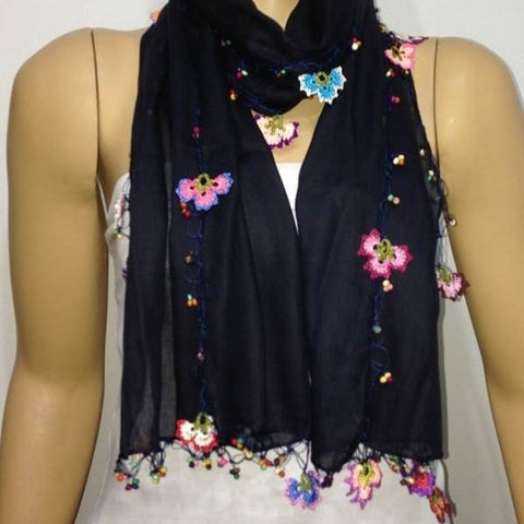 NAVY scarf with handmade multi color oya flowers -Navy scarf - Beaded Scarf - Crochet Beaded Scarf