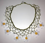 WHITE DAISY Choker Necklace with Crocheted flower and semi precious Stones
