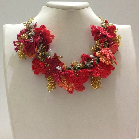 Orange and Coral with Golden Grapes - Crochet OYA Lace Necklace