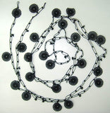 Beaded Round Crochet Necklace - Black beaded lariat - Double size - Crochet oya lace Necklace