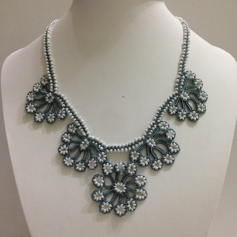 Grey with White Beads - Choker Necklace with Crocheted Bead Flower Oya