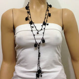 Blackberry crocheted lariat with black string
