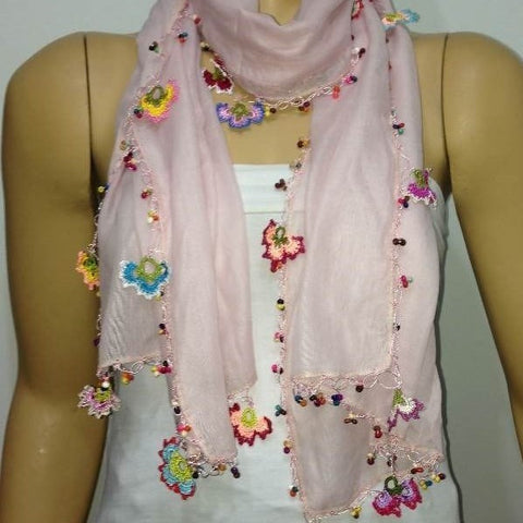 Crochet Flowers Scarf - Light Pink scarf with handmade multi color oya flowers - Pink Blush scarf - Beaded Scarf - Crochet Beaded Scarf