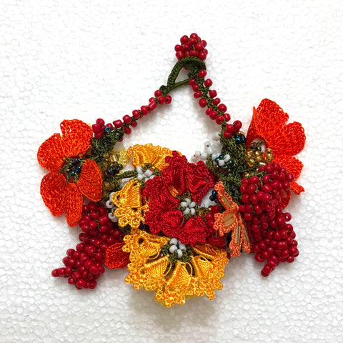 Orange and Yellow Bouquet Bracelet with Orange Grapes - Crochet OYA Lace Bracelet
