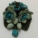 Teal Green Hand Crocheted Brooch - Flower Pin- Unique Turkish Lace - Brooches Jewelry - Fabric Flower Brooch
