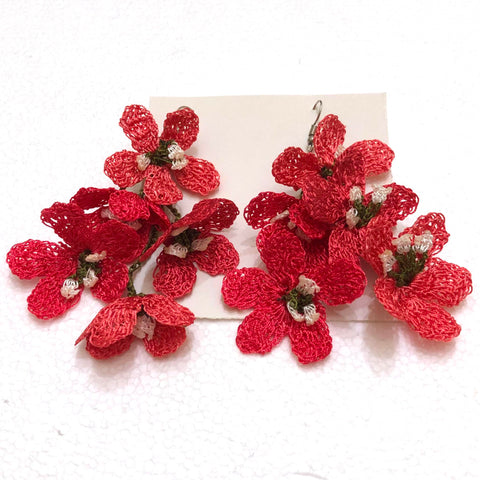 Pomegranate color Poppy Earrings
