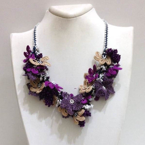 Purple amd Beige Beaded Crochet Necklace - Crochet OYA Lace Necklace - Mixed Flower Bouquet Necklace