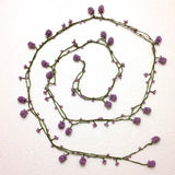 Pinkish Lilac Crochet Oya Berry Necklace - Beaded Lariat -  Necklace Lariat Necklace