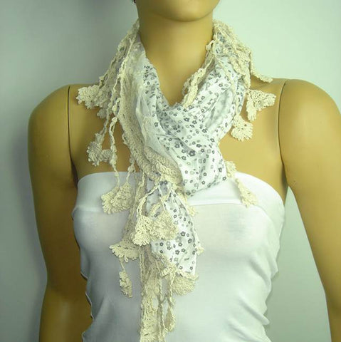 Ivory white cotton scarf with tulle and lace - Tiny grey flowers printed scarf