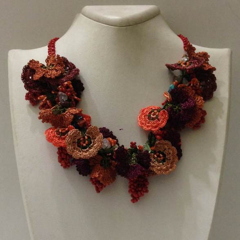 Orange Taupe Burgundy Bouquet Necklace - Crochet OYA Lace Necklace