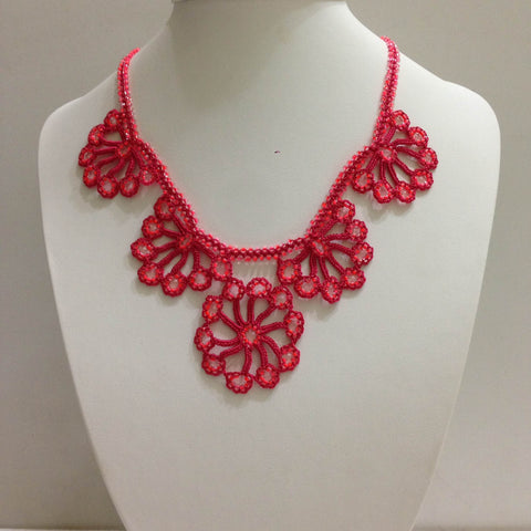 Pink - Choker Necklace with Crocheted Bead Flower Oya