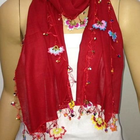 RED scarf with handmade multi color oya flowers - Beaded Scarf - Crochet Beaded Scarf