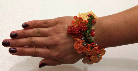 Burnt Orange Bouquet Bracelet with Orange Grapes - Crochet OYA Lace Bracelet