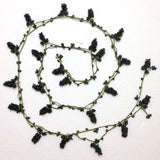 Purplish Black Crochet grapes bead oya Berry Necklace - Beaded Lariat -  Necklace Lariat Necklace