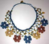 BLUE, Yellow and Brown Choker Necklace with Crocheted flower and semi precious Citrin Stones