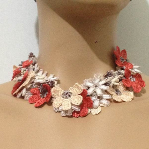 Beige and Orange Bouquet Necklace -  Crochet OYA Lace Necklace