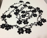 Beaded Crochet Necklace - Black beaded lariat - Double size - Crochet oya lace Necklace