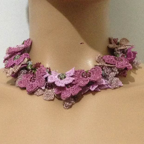 Rose Pink Bouquet Necklace -  Crochet OYA Lace Necklace