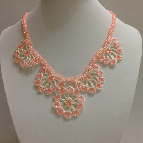 Salmon Pink Bead with White Thread - Choker Necklace with Crocheted Bead Flower Oya