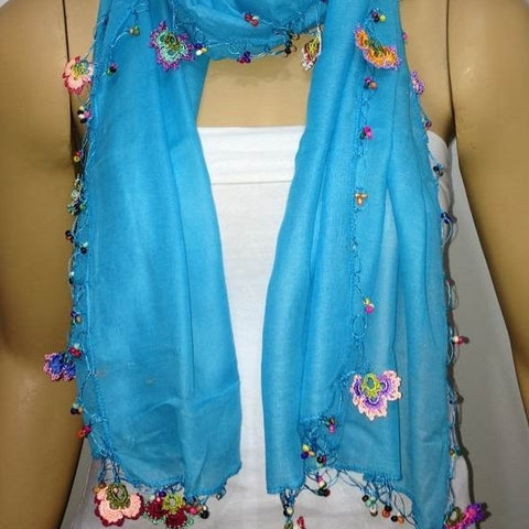 Crocheted TURQUOISE scarf with handmade multi color oya flowers - Turquoise scarf - Beaded Scarf - Crochet Beaded Scarf