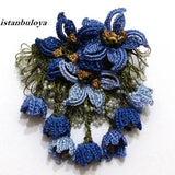 BLUE Brooch - Hand Crocheted Flower Pin- Gift for Mom - Gift for Mother - Gift for Her - Unique Lace Brooches Jewelry - Fabric Flower Brooch