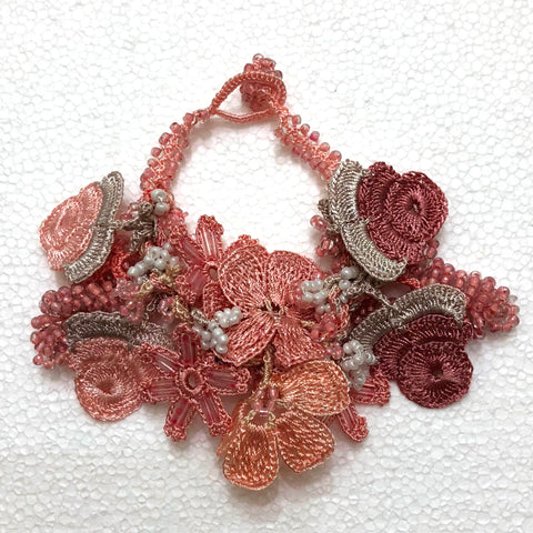 Antique Pink Bouquet Bracelet with Pink Grapes - Crochet OYA Lace Bracelet