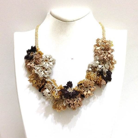 Golden Colors Bouquet Necklace - Crochet OYA Lace Necklace - Beaded Crochet Necklace - Mixed Flower - Hand crafted Necklace - Fiber Art