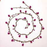 PINK Crochet Berry bead oya - Berry Necklace - Beaded Lariat -  Necklace Lariat Necklace