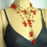 RED Grape Lariat Necklace - Red Crocheted Necklace