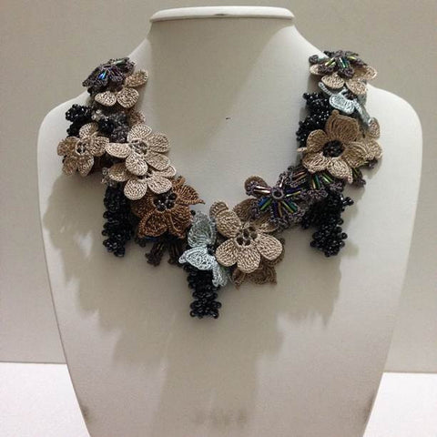 Ice Blue and Earth Tones Bouquet Necklace - Crochet OYA Lace Necklace