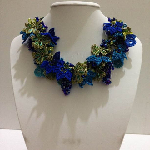 Blue and Green Bouquet Necklace - Crochet OYA Lace Necklace