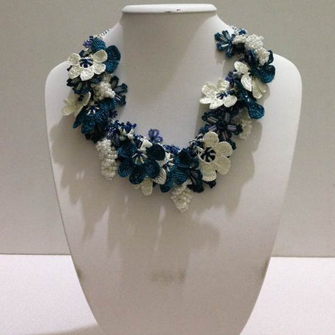 Teal and White Bouquet Necklace - Crochet OYA Lace Necklace