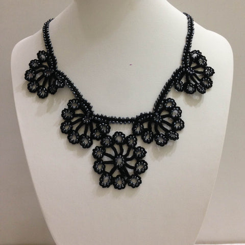 Black with Charcoal Beads - Choker Necklace with Crocheted Bead Flower Oya