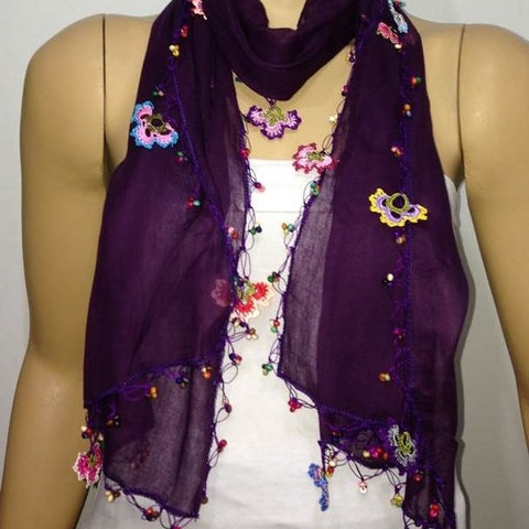 Crocheted PURPLE scarf with handmade multi color oya flowers- Beaded Scarf - Crochet Beaded Scarf