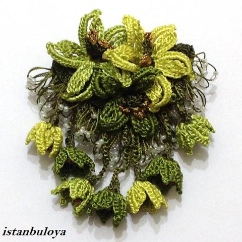GREEN Hand Crochet Brooch - Flower Pin- Gift for Mom - Gift for Mother - Gift for Her - Unique Lace Brooches Jewelry - Fabric Flower Brooch